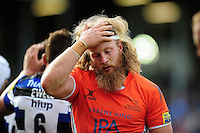 Evan Olmstead of Newcastle Falcons looks dejected after the match. Aviva Premiership match, between Bath Rugby and Newcastle Falcons on September 10, 2016 at the Recreation Ground in Bath, England. Photo by: Patrick Khachfe / Onside Images