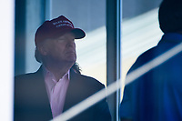 President Trump looks out towards the 16th tee Sunday afternoon during Sunday's final round of the 72nd U.S. Women's Open Championship, at Trump National Golf Club, Bedminster, New Jersey. 7/16/2017.<br /> Picture: Golffile | Ken Murray<br /> <br /> <br /> All photo usage must carry mandatory copyright credit (&copy; Golffile | Ken Murray)