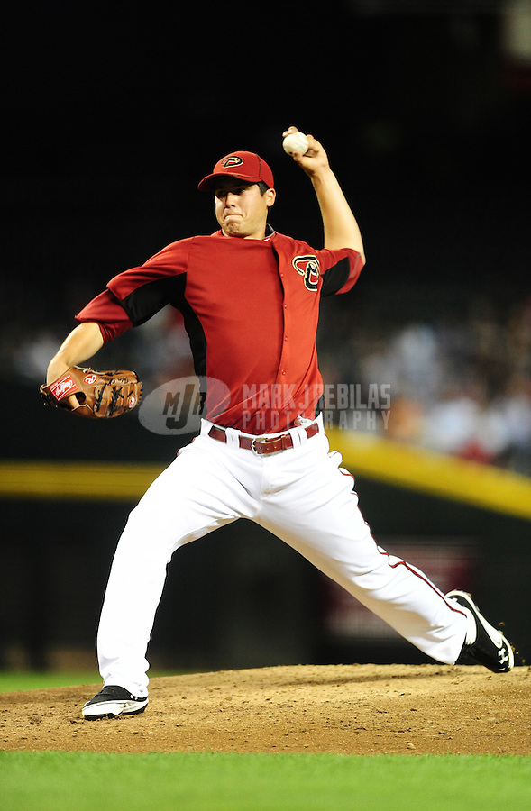Apr. 3, 2012; Phoenix, AZ, USA; Arizona Diamondbacks pitcher Tyler Skaggs throws in the fourth inning against the Milwaukee Brewers during a spring training game at Chase Field.  Mandatory Credit: Mark J. Rebilas-