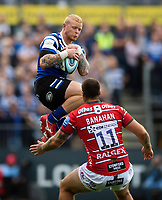 Tom Homer of Bath Rugby claims the ball in the air. Gallagher Premiership match, between Bath Rugby and Gloucester Rugby on September 8, 2018 at the Recreation Ground in Bath, England. Photo by: Patrick Khachfe / Onside Images