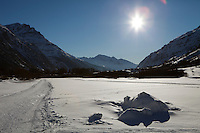 Cross country ski trails between Bessans and Bonneval sur Arc, Savoie, France, 17 February 2012.