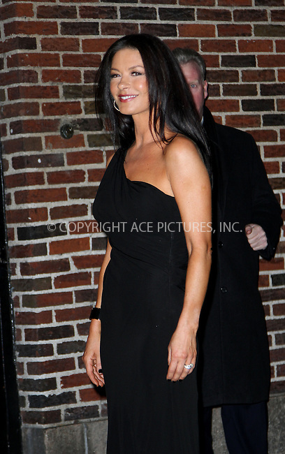 WWW.ACEPIXS.COM....January 10 2013, New York City....Actress Catherine Zeta Jones made an appearance at The Late Show with David Letterman on January 10 2013 in New York City....By Line: Zelig Shaul/ACE Pictures......ACE Pictures, Inc...tel: 646 769 0430..Email: info@acepixs.com..www.acepixs.com
