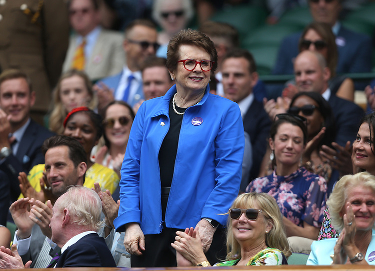 Former tennis player Billie Jean King is introduced to the Centre Court crowd <br /> <br /> Photographer Rob Newell/CameraSport<br /> <br /> Wimbledon Lawn Tennis Championships - Day 6 - Saturday 6th July 2019 -  All England Lawn Tennis and Croquet Club - Wimbledon - London - England<br /> <br /> World Copyright © 2019 CameraSport. All rights reserved. 43 Linden Ave. Countesthorpe. Leicester. England. LE8 5PG - Tel: +44 (0) 116 277 4147 - admin@camerasport.com - www.camerasport.com