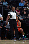 Referee Teddy Valentine works the ACC men's basketball game between the Virginia Tech Hokies and the Wake Forest Demon Deacons at the LJVM Coliseum on January 10, 2018 in Winston-Salem, North Carolina.  The Hokies defeated the Demon Deacons 83-75.  (Brian Westerholt/Sports On Film)