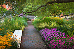 The gardens at Prescott Park in Portsmouth, Seacoast Region, NH, USA