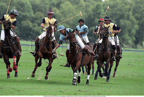 General action of La Brousse 10 v Gadbridge 7, Royal Windsor Cup Polo, Guards Club, 990613. Photo: Matthew Clarke/Action Plus...1999.horse.horses.equestrian.polo.equestrian sport sports.male