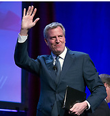 Mayor Bill de Blasio (Democrat of New York) weaves to the crowd as he arrives to make remarks at the National League of Cities spring meeting at the Marriott Wardman Park Hotel in Washington, DC on Monday, March 12, 2018.<br /> Credit: Ron Sachs / CNP<br /> (RESTRICTION: NO New York or New Jersey Newspapers or newspapers within a 75 mile radius of New York City)