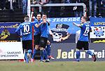 Saarbr&uuml;ckens Patrick Schmidt (2.v.l.) jubelt nach seinem 2:1 mit Markus Obernosterer Kevin Behrens und Sascha Wenninger (v.l.) beim Spiel in der Regionalliga Suedwest, 1. FC Saarbruecken - Wormatia Worms.<br /> <br /> Foto &copy; PIX-Sportfotos *** Foto ist honorarpflichtig! *** Auf Anfrage in hoeherer Qualitaet/Aufloesung. Belegexemplar erbeten. Veroeffentlichung ausschliesslich fuer journalistisch-publizistische Zwecke. For editorial use only.