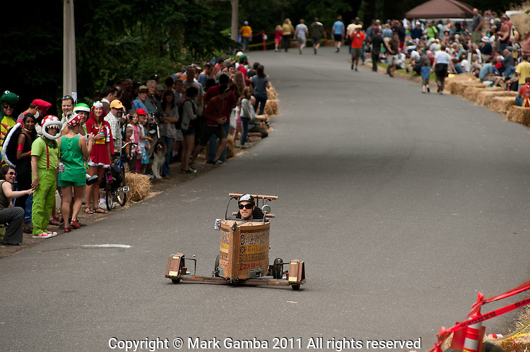 Matt Potter's derby car is made entirely from salvaged materials.