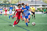 Boston, MA - Saturday July 01, 2017: Francisca Ordega and Angela Salem during a regular season National Women's Soccer League (NWSL) match between the Boston Breakers and the Washington Spirit at Jordan Field.