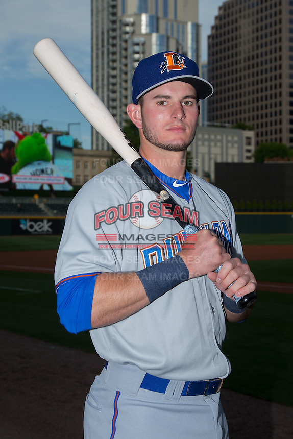 Durham Bulls infielder Daniel Robertson (28) poses for a photo prior to the game against the Charlotte Knights at BB&T BallPark on April 14, 2016 in Charlotte, North Carolina.  The Bulls defeated the Knights 2-0.  (Brian Westerholt/Four Seam Images)