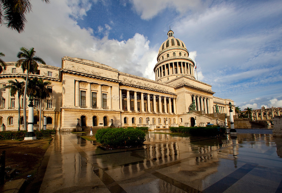 The capital building in Havana, Cuba after a rainstorm.