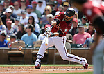 Diamondbacks' Daniel Descalso bats in a spring training game against the Chicago Cubs in Phoenix, AZ, on Thursday, March 23, 2017.<br /> Photo by Cathleen Allison/Nevada Photo Source