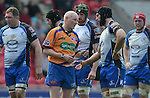 Referee Neil Paterson has words with Connacht's John Muldoon<br /> <br /> Rugby - Scarlets V Connacht  - Rabodirect Pro12 - Sunday  30th March  2014 - Parc-y-Scarlets - Llanelli<br /> <br /> &copy; www.sportingwales.com- PLEASE CREDIT IAN COOK