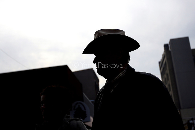 U.S. Presidential hopeful Sen. Fred Thompson (D-TN) makes an effort to meet local voters as he tours downtown Muscatine, Iowa, in his cowboy hat on December 19, 2007..