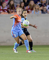 Ellie Brush (8) of the Houston Dash battles Jen Hoy (2) of the Chicago Red Stars for the ball in the first half on Saturday, April 16, 2016 at BBVA Compass Stadium in Houston Texas.