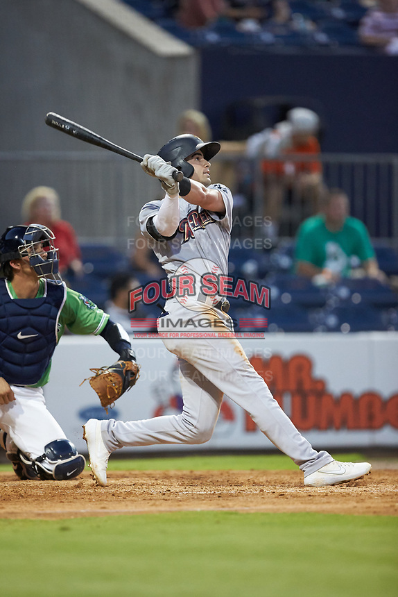 Tyler Wade (9) of the Scranton/Wilkes-Barre RailRiders follows through on his swing against the Gwinnett Stripers at BB&T BallPark on August 16, 2019 in Lawrenceville, Georgia. The Stripers defeated the RailRiders 5-2. (Brian Westerholt/Four Seam Images)