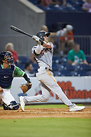 Tyler Wade (9) of the Scranton/Wilkes-Barre RailRiders follows through on his swing against the Gwinnett Stripers at Coolray Field on August 16, 2019 in Lawrenceville, Georgia. The Stripers defeated the RailRiders 5-2. (Brian Westerholt/Four Seam Images)