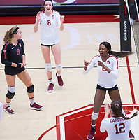 STANFORD, CA - November 4, 2018: Tami Alade, Michaela Keefe, Morgan Hentz, Audriana Fitzmorris at Maples Pavilion. No. 2 Stanford Cardinal defeated the Utah Utes 3-0.