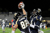 22 November 2008:  FIU wide receiver Greg Ellingson (82) and wide receiver T.Y. Hilton (4) celebrate Ellingson's touchdown catch in the ULM 31-27 victory over FIU at FIU Stadium in Miami, Florida.