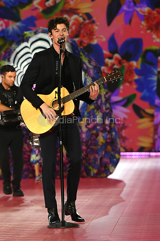 NEW YORK, NY - NOVEMBER 08: Shawn Mendes at the 2018 Victoria's Secret Fashion Show at Pier 94 on November 8, 2018 in New York City. Credit: John Palmer/MediaPunch