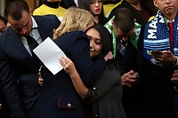 A DACA recipient hugs United States Representative Sylvia Garcia (Democrat of Texas) during a press conference on the Deferred Action for Childhood Arrivals program on Capitol Hill in Washington D.C., U.S. on Tuesday, November 12, 2019.  The Supreme Court is currently hearing a case that will determine the legality and future of the DACA program.  <br /> <br /> Credit: Stefani Reynolds / CNP /MediaPunch