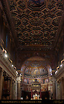 Nave and Apse Corinthian and Ionic Granite Columns Baths of Caracalla Temple of Isis Gilded Coffered Ceiling Domenico Zampieri Domenichino 1617 Santa Maria in Trastavere Trastevere Rome