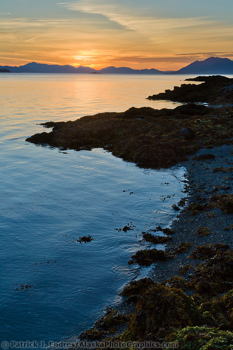 Sunset along the shores of Revillagigedo Island, near Ketchikan, along the Tongass Narrows, southeast, Alaska.