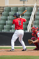 Ryan Plourde (2) of the Kannapolis Intimidators at bat against the Lakewood BlueClaws at CMC-Northeast Stadium on May 17, 2015 in Kannapolis, North Carolina.  The Intimidators defeated the BlueClaws 4-1.  (Brian Westerholt/Four Seam Images)