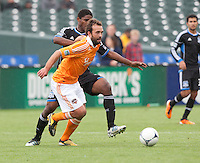 San Francisco, California - Saturday March 17, 2012: Adam Moffat and Khari Stephenson in action during the MLS match at AT&T Park.Houston Dynamo defeated San Jose Earthquakes  1-0