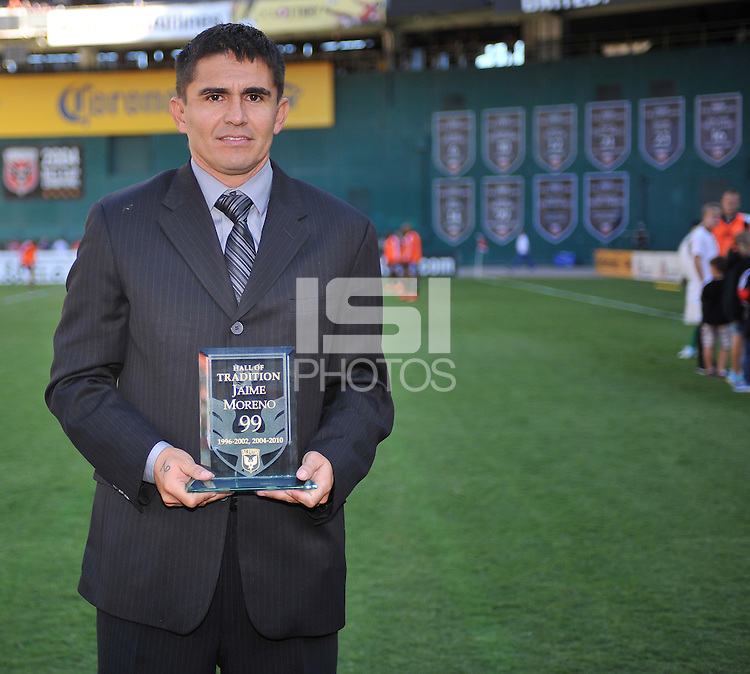 Former D.C. United player Jaime Moreno during the induction into the D.C. United Wall of Fame.  D.C. United tied the Los Angeles Galaxy 2-2, at RFK Stadium, Saturday September 14 , 2013.