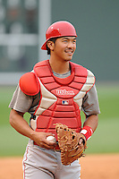 Catcher Chace Numata (2) of the Lakewood BlueClaws before a game against the Greenville Drive on Wednesday, April 24, 2013, at Fluor Field at the West End in Greenville, South Carolina. Lakewood won, 7-5. (Tom Priddy/Four Seam Images)