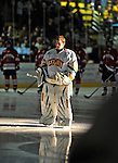 18 January 2008: University of Vermont Catamounts' goaltender Mike Spillane, a Sophomore from Bow, NH, is introduced as starting goaltender prior to a game against the Northeastern University Huskies at Gutterson Fieldhouse in Burlington, Vermont. The two teams battled to a 2-2 tie in the first game of their 2-game weekend series...Mandatory Photo Credit: Ed Wolfstein Photo