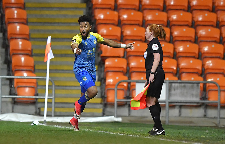Solihull Moors' Adi Yussuf celebrates scoring his team's first goal<br /> <br /> Photographer Dave Howarth/CameraSport<br /> <br /> The Emirates FA Cup Second Round Replay - Blackpool v Solihull Moors - Tuesday 18th December 2018 - Bloomfield Road - Blackpool<br />  <br /> World Copyright © 2018 CameraSport. All rights reserved. 43 Linden Ave. Countesthorpe. Leicester. England. LE8 5PG - Tel: +44 (0) 116 277 4147 - admin@camerasport.com - www.camerasport.com