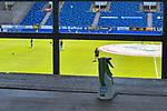 Desinfektionsflasche vor einem Geländer beim Spiel in der 3. Liga, SV Waldhof Mannheim - KFC Uerdingen 05.<br /> <br /> Foto © PIX-Sportfotos *** Foto ist honorarpflichtig! *** Auf Anfrage in hoeherer Qualitaet/Aufloesung. Belegexemplar erbeten. Veroeffentlichung ausschliesslich fuer journalistisch-publizistische Zwecke. For editorial use only. DFL regulations prohibit any use of photographs as image sequences and/or quasi-video.