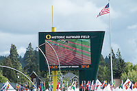 Live video of Laura Roesler on the awards podium is shown while a replay of her sprint to victory in the 800-meters fades in on the videoboard  at the 2014 NCAA Division I Outdoor Track and Field Championships in Eugene, Or. Friday, June 13.