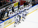 Södertälje 2013-02-02 Ishockey Allsvenskan , Södertälje SK - BIK Karlskoga :  .BIK Karlskoga jubel efter ett mål.(Byline: Foto: Kenta Jönsson) Nyckelord:  jubel jubla jublar glädje lycka glad happy gruppbild grupp