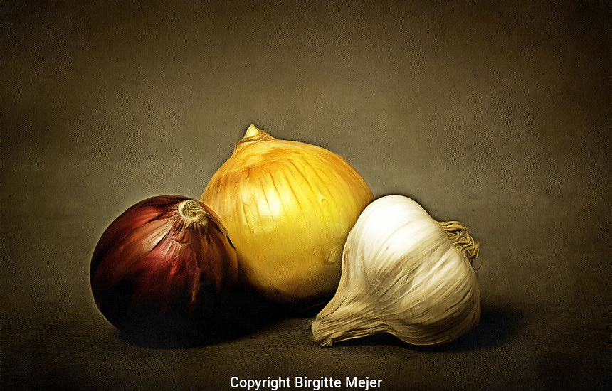 A red and yellow onion and a Garlic, placed on a dark backdrop. Digitally altered