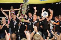ZEILEN: LEMMER: 20-08-2016, IFKS Skûtsjesilen, Fonger Talsma schipper van de Jonge Jan uit Warten nummer twee in C-Klasse, ©foto Martin de Jong