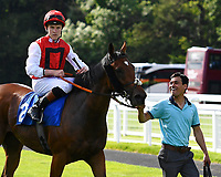 Winner of The Molson Coors Handicap, Beepeecee ridden by Finley Marsh and trained by Richard Hughes is led into the winners enclosure during Afternoon Racing at Salisbury Racecourse on 13th June 2017