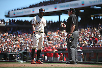 SAN FRANCISCO, CA - JUNE 26:  Denard Span #2 of the San Francisco Giants argues with home plate umpire Doug Eddings during the game against the Philadelphia Phillies at AT&T Park on Sunday, June 26, 2016 in San Francisco, California. Photo by Brad Mangin