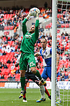 Will Puddy of Bristol Rovers collects a high ball during the 2015 Vanarama Conference Promotion Final match between Grimsby Town and Bristol Rovers at Wembley Stadium, London<br /> Picture by David Horn/eXtreme aperture photography +44 7545 970036<br /> 17/05/2015