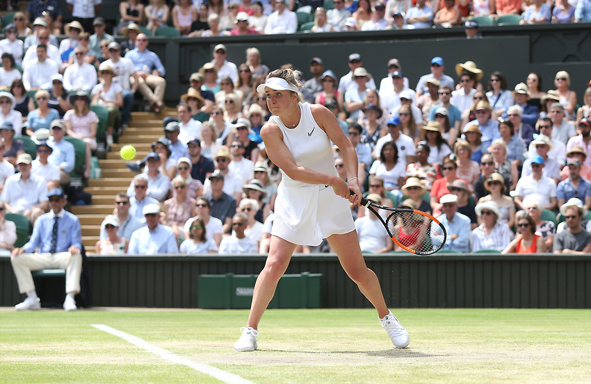 Elina Svitolina (UKR) during her match against Simona Halep (ROU) in their Ladies' Singles Semi-Final match<br /> <br /> <br /> Photographer Rob Newell/CameraSport<br /> <br /> Wimbledon Lawn Tennis Championships - Day 10 - Thursday 11th July 2019 -  All England Lawn Tennis and Croquet Club - Wimbledon - London - England<br /> <br /> World Copyright © 2019 CameraSport. All rights reserved. 43 Linden Ave. Countesthorpe. Leicester. England. LE8 5PG - Tel: +44 (0) 116 277 4147 - admin@camerasport.com - www.camerasport.com