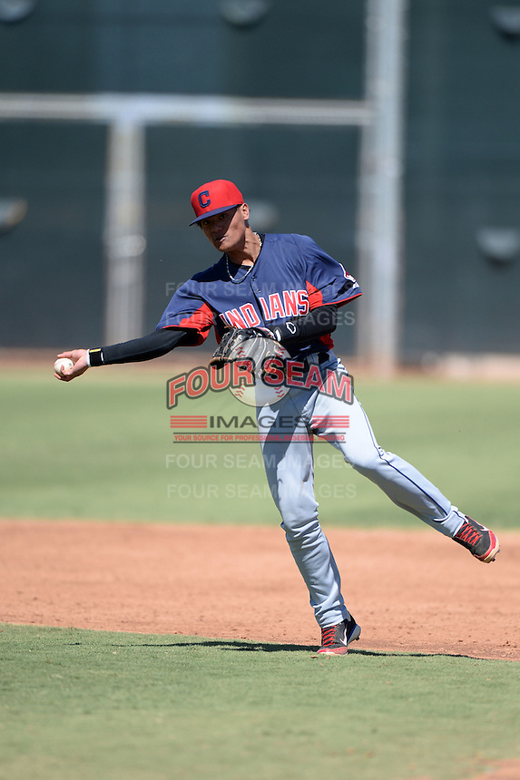 Cleveland Indians shortstop Yu-Cheng Chang (9) during an instructional league game against the Cincinnati Reds on September 28, 2013 at Goodyear Training Complex in Goodyear, Arizona.  (Mike Janes/Four Seam Images)
