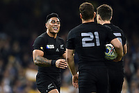 Malakai Fekitoa of New Zealand is all smiles after scoring a try. Rugby World Cup Pool C match between New Zealand and Georgia on October 2, 2015 at the Millennium Stadium in Cardiff, Wales. Photo by: Patrick Khachfe / Onside Images