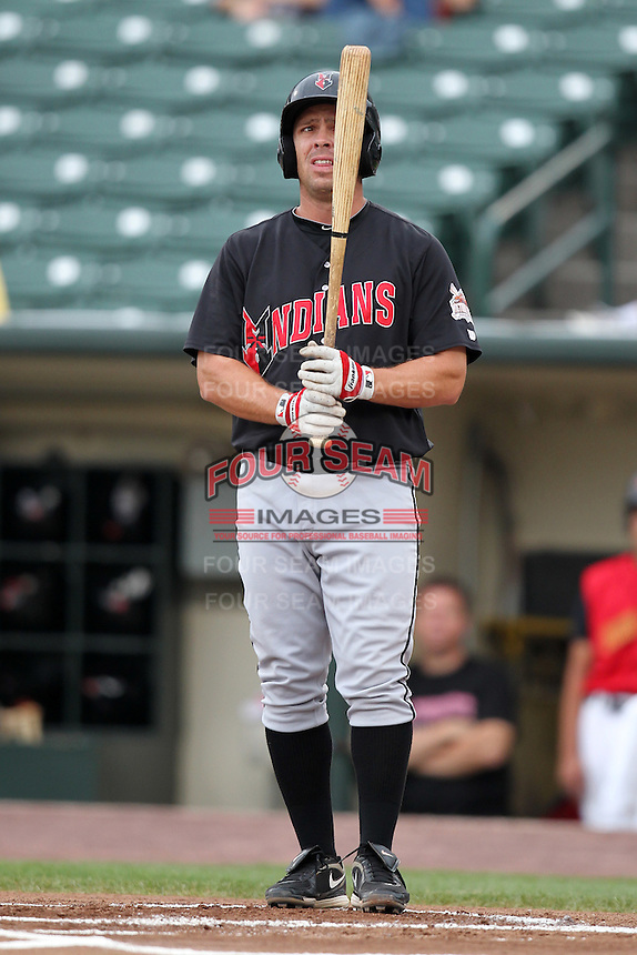 Indianapolis Indians first baseman Brian Myrow during a game vs. the Rochester Red Wings at Frontier Field in Rochester, New York;  July 17, 2010.   Indianapolis defeated Rochester 10-7.  Photo By Mike Janes/Four Seam Images