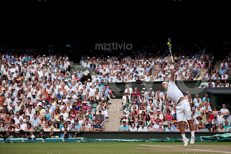 Rafael Nadal (ESP) plays against Andy Murray (GBR) on Centre Court. The Wimbledon Championships 2010 The All England Lawn Tennis & Croquet Club  Day 11 Friday 02/07/2010