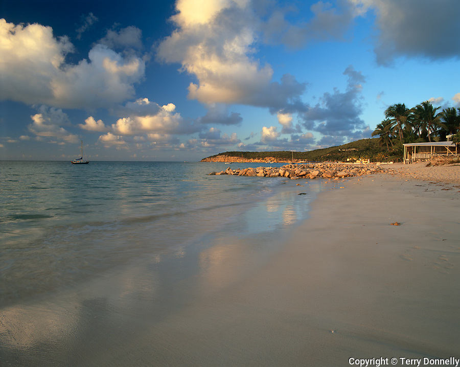 Antigua, West Indies   <br /> Evening clouds over Dickinson Bay and the distant Weatherills Point - <br /> Caribbean Islands