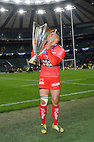 Bryan Habana of RC Toulon kisses the European Rugby Champions Cup trophy in celebration
