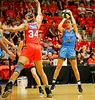 29th December 2019; Bendat Basketball Centre, Perth, Western Australia, Australia; Womens National Basketball League Australia, Perth Lynx versus Canberra Capitals; Kia Nurse of the Canberra Capitals has a jump shot in front of Imani McGee-Stafford of the Perth Lynx - Editorial Use